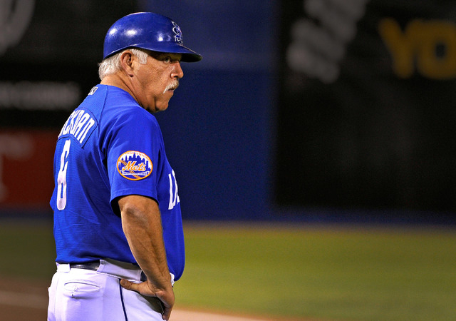 Las Vegas coach Wally Backman keeps his eyes on the action while coaching at third base during a baseball game against the Round Rock Express at Cashman Field on Tuesday, Aug. 26, 2014. The 51s ha ...