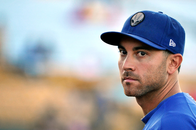 Las Vegas' Anthony Seratelli looks on before a baseball game against the Round Rock Express at Cashman Field on Tuesday, Aug. 26, 2014. The 51s have clinched a playoff berth. (David Becker/Las Veg ...