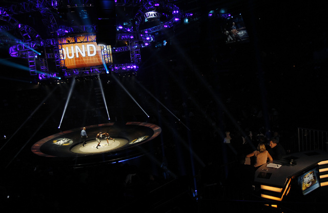 The unique ring set up is seen during the inaugural Big Knockout Boxing event at the Mandalay Bay Events Center in Las Vegas on Saturday, Aug. 16, 2014. (Jason Bean/Las Vegas Review-Journal)