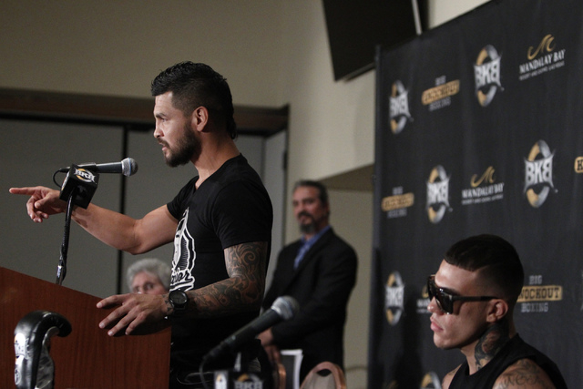 Fighter Bryan Vera, left, speaks during a press conference for his upcoming Saturday bout against Gabriel Rosado in the first card for Big Knockout Boxing at Mandalay Bay Events Center in Las Vega ...
