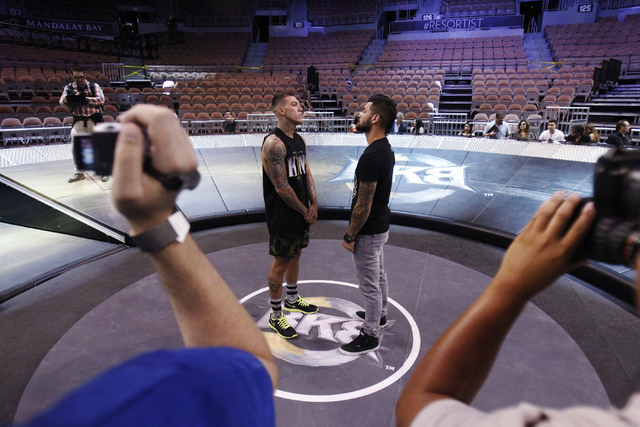 Fighters Gabriel Rosado, left, and Bryan Vera, pose for photos during a press conference for their upcoming Saturday bout in the first card for Big Knockout Boxing at Mandalay Bay Events Center in ...