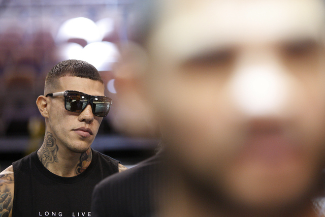 Fighter Gabriel Rosado is interviewed during a press conference for his upcoming Saturday bout against Bryan Vera in the first card for Big Knockout Boxing at Mandalay Bay Events Center in Las Veg ...