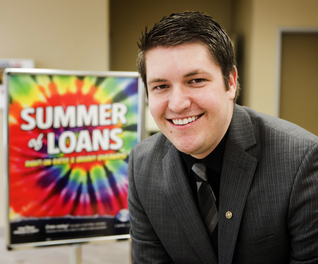 America First Credit Union Branch Manager Matthew Dice at the company's location at  6090 S. Durango Drive on Monday, Aug. 11, 2014. (Jeff Scheid/Las Vegas Review-Journal)
