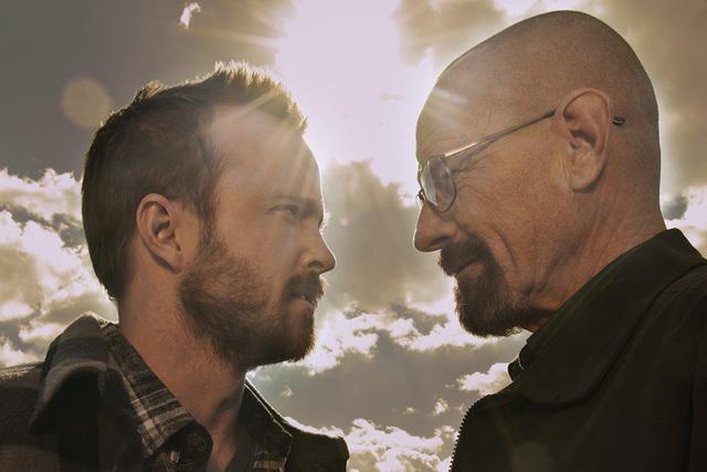 "Aaron Paul, left, and Bryan Cranston starred in ""Breaking Bad."" (Frank Ockenfels 3/AMC)"