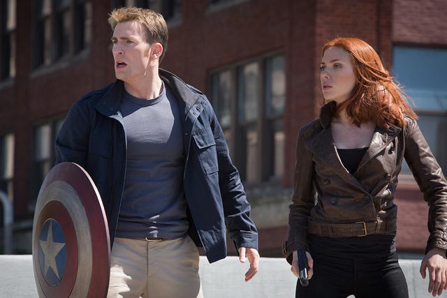 "Chris Evans and Scarlett Johansson star in ""Captain America: The Winter Soldier."" (Courtesy Marvel)"