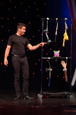 """Entertainer Jeff Civillico performs during his one-man show """"Jeff Civillico: Comedy in Action"""" at the Quad hotel-casino in Las Vegas. (Martin S. Fuentes/Las Vegas Review-Journal)"""