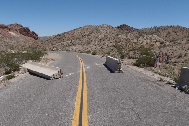 An undated photo shows flood damage on the road leading to through Eldorado Canyon to Lake Mohave. The National Park Service closed the road Aug. 4, but visitors have ignored the closure and the h ...