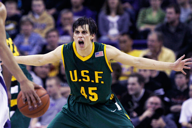 Point guard Cody Doolin, shown playing in a game for the San Francisco Dons, transferred to UNLV this offseason. (AP Photo/Elaine Thompson file)