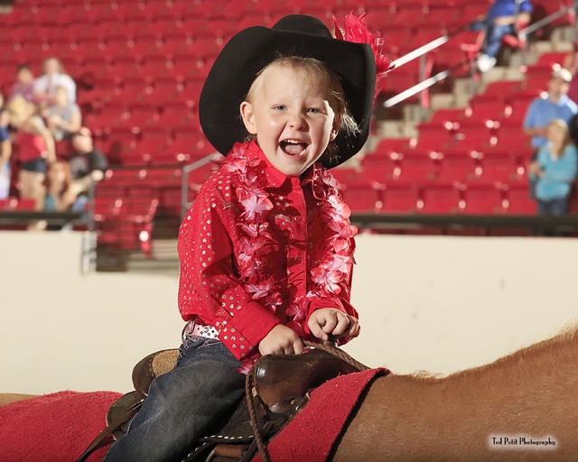 Bailey Stevens rides a horse at the third annual Buckles and Barrels for Bailey charity event in 2013 at the South Point, 9777 Las Vegas Blvd. South. The event benefits the Spring Valley Hospital' ...
