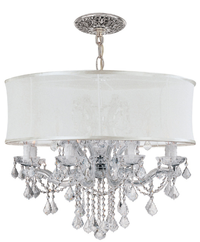 McClatchy-Tribune-News Service The 12-light Brentwood chandelier by Crystorama features glass and polished chrome.