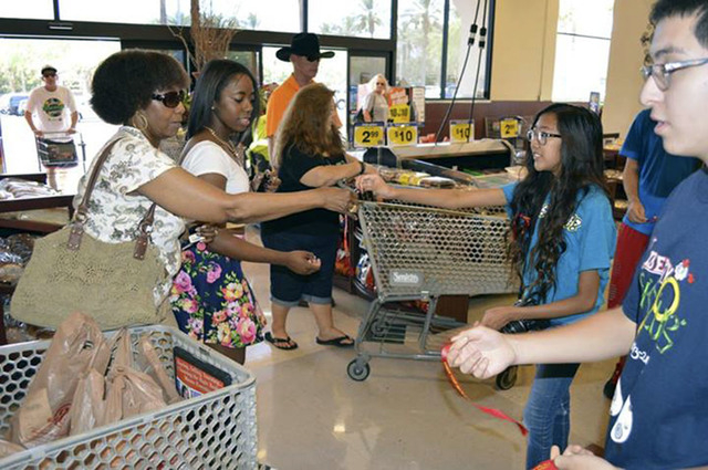 Members of the Las Vegas Kiwanis and Key clubs recently handed out safety awareness ribbons at area Smith's locations for the Check Your Seats in the Heat campaign, put on by Las Vegas and Hende ...