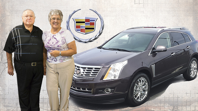 Courtesy photo Mesquite residents Roger and Priscilla Steelman purchased their 2015 Cadillac SRX Premium Crossover from sales consultant Michael Waldman at Findlay Cadillac in the Valley Automall.