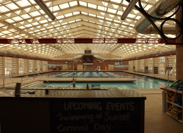 The Whitney Ranch Indoor Pool, 1575 Galleria Drive, pictured here Aug. 12, is now closed between 11 a.m. and 1 p.m. daily. The change stems from budget cuts that took effect May 24. (Caitlyn Belch ...