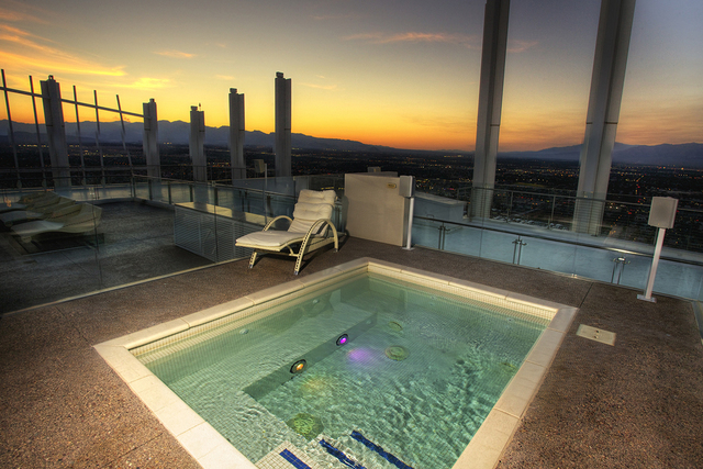 Courtesy photo The rooftop patio featured in the Founders Penthouse showcases a 20-person Jacuzzi.