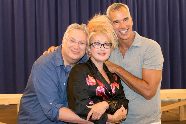 """Writer Harvey Fierstein, composer Cyndi Lauper and director Jerry Mitchell reunite at a """"Kinky Boots"""" photo call in New York in advance of the show's national tour launch at The Smith Center. Cour ..."""