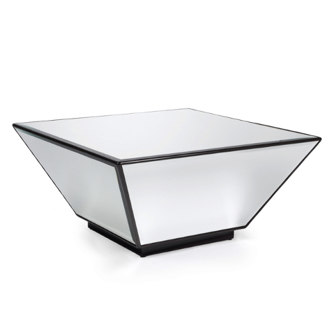 Courtesy Z Gallerie Mirrored panels create the intriguing reflective Oslo coffee table from Z Gallerie. The piece is also available as a side table.