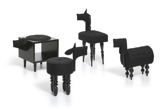 Courtesy Mollaspace Biaugust's whimsical chairs   include a lamb, buffalo, dog and pony. Upholstered in black fabric and perched on curvy legs, they're at once clever seating and sculpture that no ...