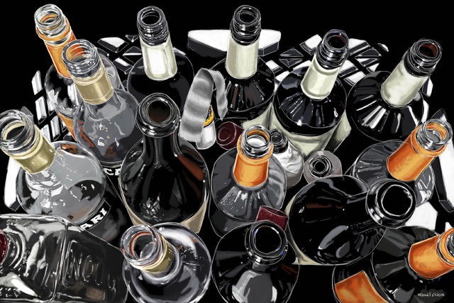 Courtesy Maxwell Dickson The Los Angeles-based design house Maxwell Dickson creates arresting pop art using a variety of techniques and imagery. A tableful of empty liquor bottles is one of the pi ...