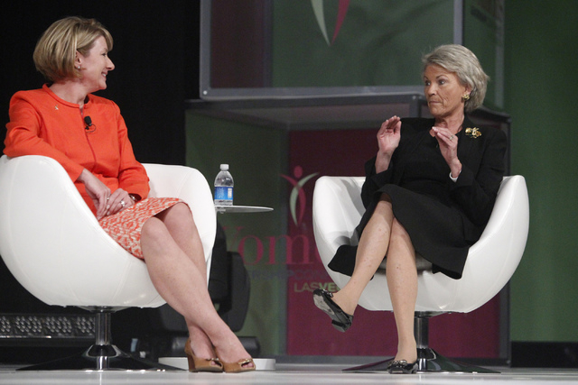 Pat Mulroy, right, former Southern Nevada Water Authority general manager, speaks during a panel discussion as Wendy Davidson, president at Kellogg Co., looks on during the Women's Leadership Conf ...