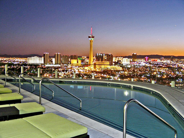 Courtesy photo Newport Lofts' swimming pool and sundeck offer views of the Stratosphere and Strip.