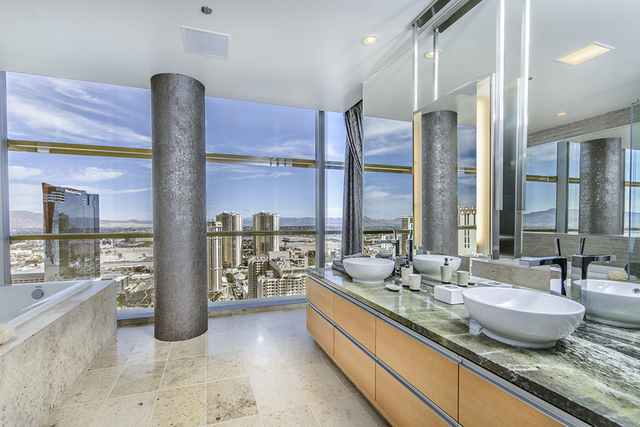 Courtesy photo Unit 3101  in Veer Towers also was  designed by Lee Bryan Interior. The home's baths have marble accents and views of the Strip.