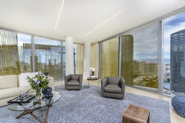 Courtesy photo  Unit 3106 in Veer Towers was designed by Lee Bryan Interior. The high-rise condo measures 1,788 square feet and features a living room with a view of the Strip's Bellagio fountains.