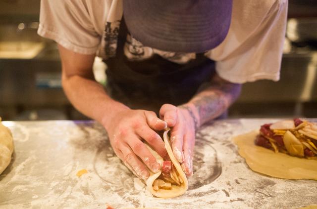 Patrick Noland prepares pasties at Cornish Pasty, 953 E. Sahara Ave., in Las Vegas on Saturday, June 28, 2014. (Chase Stevens/Las Vegas Review-Journal)