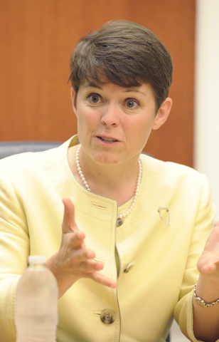 Erin Cranor, candidate for Clark County School Board, Dist. G, speaks with the Review-Journal editorial board on Wednesday, July 2, 2014. (Mark Damon/Las Vegas Review-Journal)