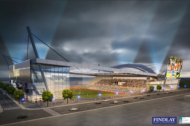 An artists rendering shows an MLS stadium that would be home to a Las Vegas-based MLS franchise. The Cordish Cos., the Baltimore-based company partnering with the city of Las Vegas on a soccer sta ...