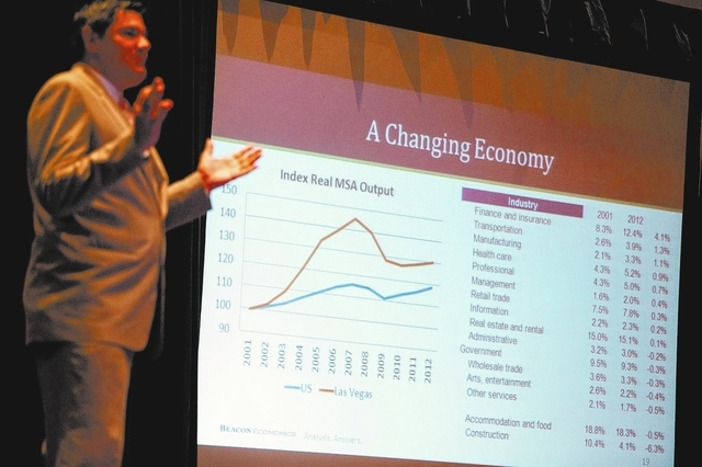 Economist Christopher Thornberg of Beacon Economics, LLC gives a presentation on the economic outlook for 2014 during City National Bankճ Economic Forecast and Market Update on Wednesday, Feb. 19 ...