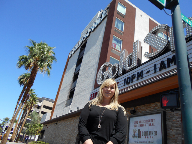 Zappos employee Joanna Hass, seen Tuesday, Aug. 19, 2014, lives at Gold Spike in a single room, where monthly rents are in the $500 range. (Alan Snel/Review-Journal)