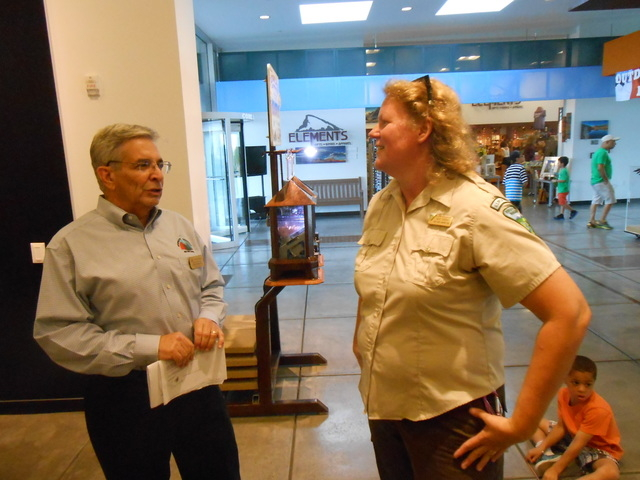 Bureau of Land Management ranger Kate Sorom, right, speaks with Blaine Benedict, executive director of the Red Rock Canyon Interpretive Association, July 9 at the Red Rock Canyon Visitor Center, 1 ...