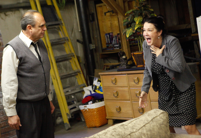 """Taylor Hanes as George and Valerie Carpenter Bernstein as Martha rehearse July 31 for """"Who's Afraid of Virginia Woolf?"""" Performances are scheduled at 8 p.m. Aug. 21-23 at the Onyx Theatre, 953-16B ..."""