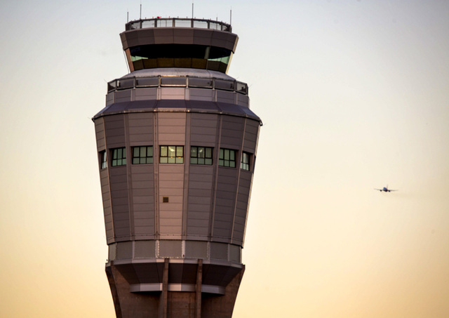 The FAA tower  as seen  Wednesday, Aug, 6, 2014 under construction at McCarran International Airport. FAA has confirmed that a subcontractor has improperly installed a substance designed to preven ...