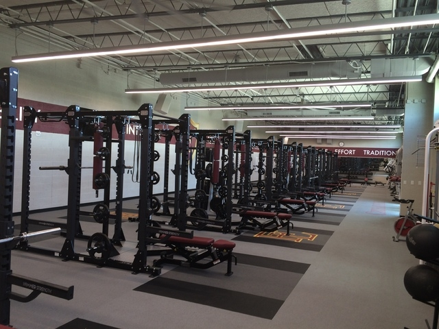 The renovation included a new 4,000-square-foot weight room with Hammer Strength equipment and freshly painted motivational messages adorning the walls. Older equipment was donated to the Metropol ...