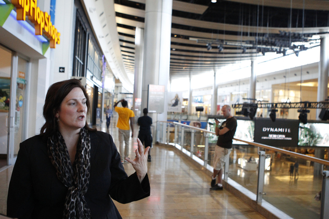 Janet LaFevre, senior marketing manager at Fashion Show, gives a tour of the shopping center in Las Vegas Tuesday, Aug. 26, 2014. Fashion Show is planning an expansion and redevelopment near their ...