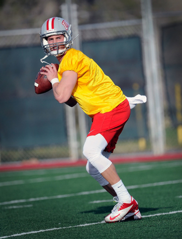 UNLV quarterback Blake Decker looks to pass the ball during spring training practice at UNLV on Monday, March 3, 2014. (David Becker/Las Vegas Review-Journal)