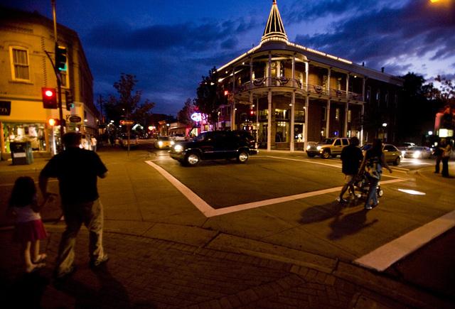 Pedestrians cross the street near the Hotel Weatherford in downtown Flagstaff, Arizona, on July 11, 2009. The hotel was open in 1900. (JEFF SCHEID/LAS VEGAS REVIEW-JOURNAL)