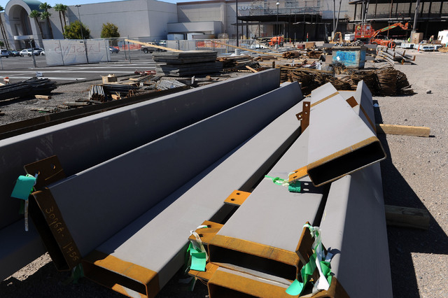 Steel rises on the 30,000 square foot expansion to the Galleria at Sunset mall in Henderson, seen Wednesday, Aug. 6, 2014.  The new area will include six new restaurants and a new main entrance to ...