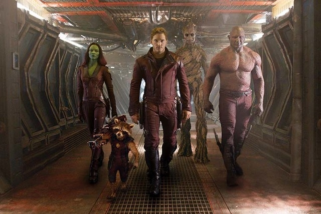 This image released by Disney - Marvel shows, from left, Zoe Saldana, the character Rocket Racoon, voiced by Bradley Cooper, Chris Pratt, the character Groot, voiced by Vin Diesel and Dave Bautist ...