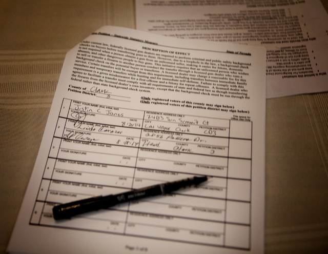 Nevadans for Background check petition as send on Monday, Aug. 18, 2014 during launching of the statewide initiative campaign at Victory Missionary Baptist Church, 500 West Monroe Ave. The group i ...