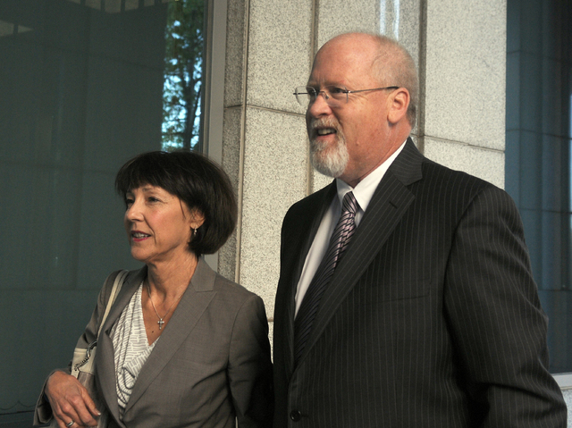 Harvey Whittemore and his wife, Annette, arrive at federal court in Reno for the start of his trial, Tuesday May 14, 2013. U.S. District Judge Larry Hicks began questioning potential jurors for wh ...
