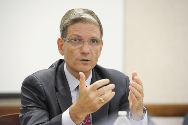 U.S. Rep. Joe Heck, R-Nev., speaks to the Las Vegas Review-Journal editorial board on Wednesday, Aug.13, 2014. (Mark Damon/Las Vegas Review-Journal)