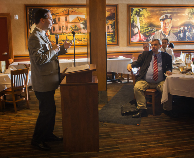 "Hans A. von Spakovsky, left, Senior Legal Fellow at the Heritage Foundation, and  John Fund, an American political journalist,  authors of ""Obama's Enforcer"" during a luncheon at  Fogo de Chao Chu ..."