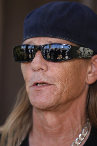 John Hastrich speaks on the death of his girlfriend Terri Ham during a press conference outside of his home, 3899 Almondwood Drive in Las Vegas Friday, Aug. 22, 2014. Ham died at the hospital yest ...