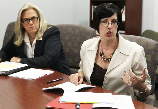 Clark County Department of Family Services Director Lisa Ruiz-Lee talks to a Review-Journal reporter at their facility in Las Vegas. Paula Hammack, DFS Assistant Director and in charge of the  Chi ...