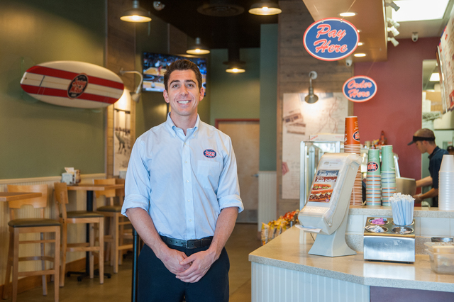 Co-owner Sean Mapes of Jersey Mike's Subs poses for a portrait inside his sandwich shop on 7390 S. Las Vegas Blvd., in Las Vegas Thursday, July 31, 2014. (Martin S. Fuentes/Las Vegas Review-Journal)