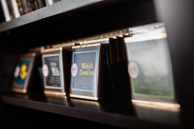 Items are seen on display at Jinju Chocolates in the Downtown Container Park in Las Vegas on Tuesday, July 15, 2014. (Chase Stevens/Las Vegas Review-Journal)