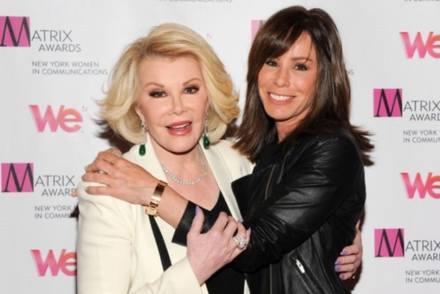 In this April 22, 2013 file photo, Television personalities Joan Rivers, left, and daughter Melissa Rivers attend the 2013 Matrix New York Women in Communications Awards at the Waldorf-Astoria Hot ...