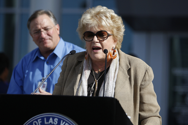 Las Vegas Mayor Carolyn Goodman introduces the Mountain Ridge Little League team during a ceremony to honor the team at Las Vegas City Hall in Las Vegas Saturday, Aug. 30, 2014. (Erik Verduzco/Las ...